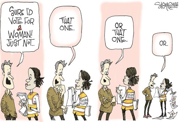 Political cartoon: What is it about women presidential candidates?