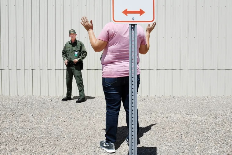 Jacob Montagnani, 22, takes part in a practice scenario at the United States Border Patrol Academy in Artesia, N.M.