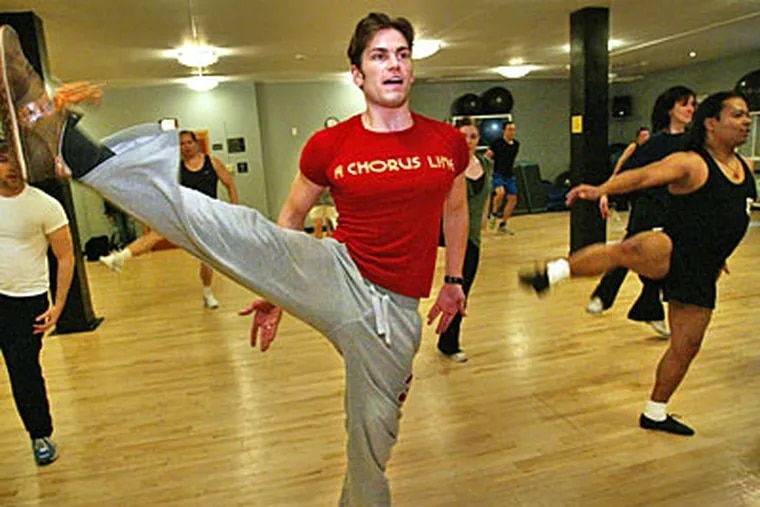Dancer Alex Ringler of 'A Chorus Line' leads a dance-aerobics class at the 12th St. Gym. The musical is currently showing at the Forrest Theater. (Alejandro A. Alvarez / Staff Photographer)