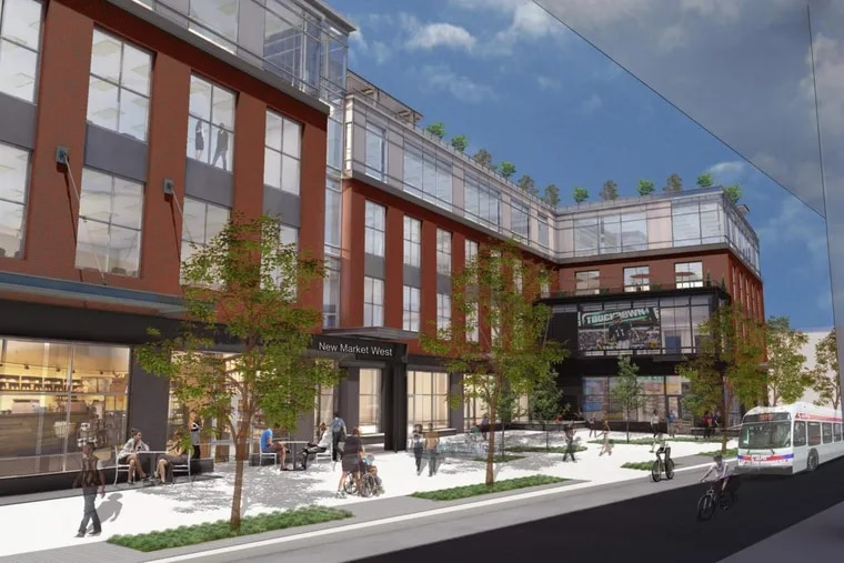 Artist's rendering of New Market West project proposed for the 5900 block of Market Street in West Philadelphia by Mission First Housing Group.