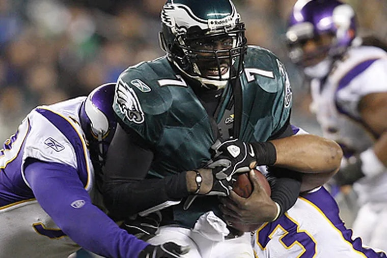 Michael Vick was sacked six times during the loss to the Vikings. (David Maialetti / Staff Photographer)