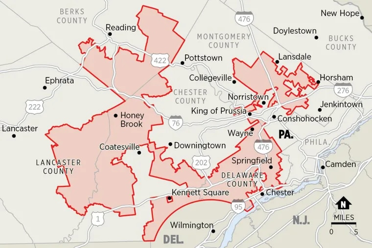 """Pennsylvania's Seventh Congressional District has been cited as an example of extreme partisan gerrymandering. Its contorted shape has been described by the Washington Post as """"Goofy kicking Donald Duck."""""""