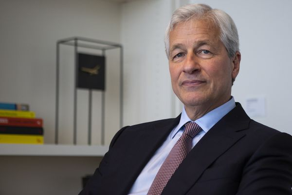 Jamie Dimon shows the JPMorgan Chase flag at Philly's big BIO meeting